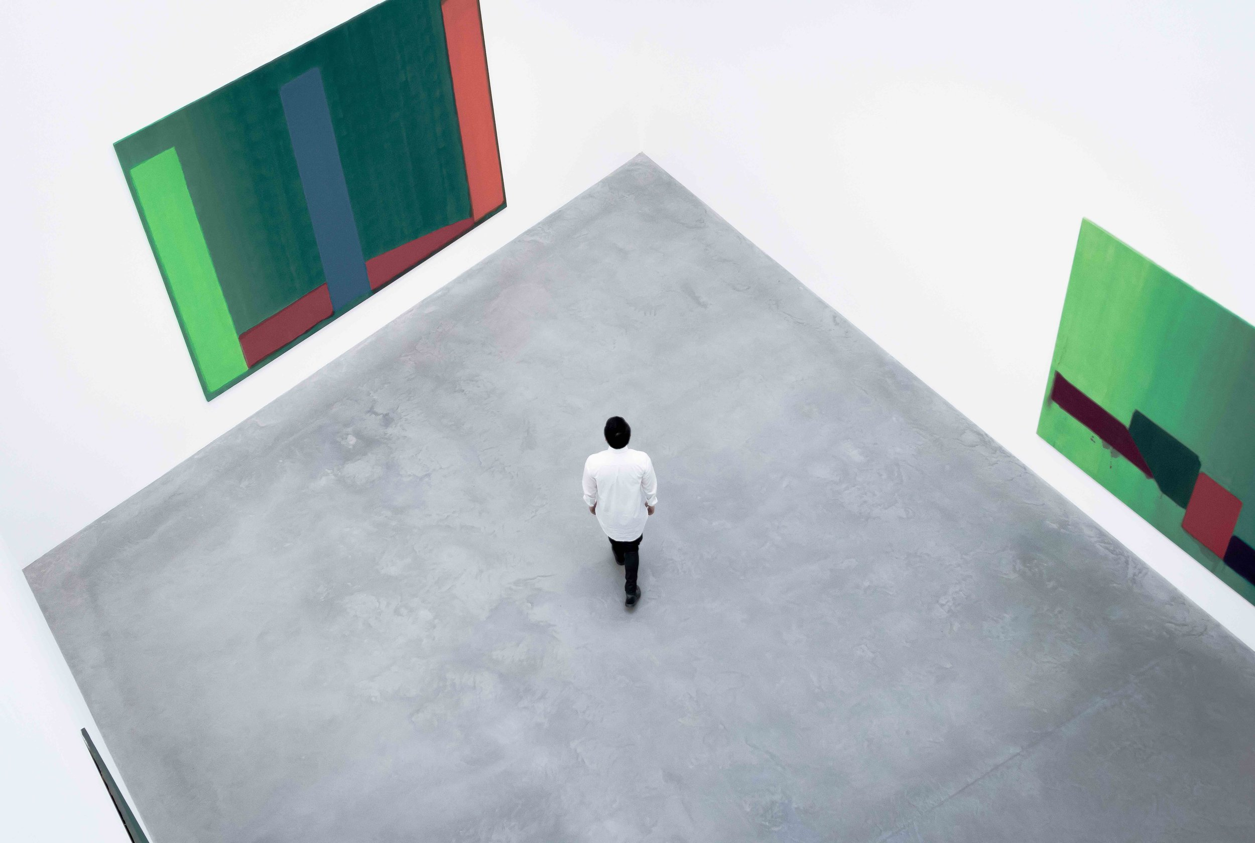 Man in gallery looking at large abstract paintings.jpg