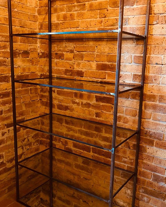 Shop displays for sale! Metal  and glass shelving...2 sizes available. 37.5 x 18 x 72 - $375 and 18 x 15 x 72 - $200!  #honeyandroshop #industrial #visitmendo #shoplocal