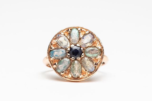All fine jewelry 40% off! Labradorite and Sapphire Mandala ring by Arik Kastan. #honeyandroshop #prettythings #sparklejoy #closingsale #gratitude