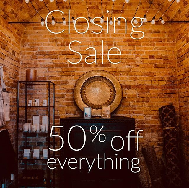 50% off everything! Closing sale continues...open 11-5. #honeyandroshop #closingsale #50off