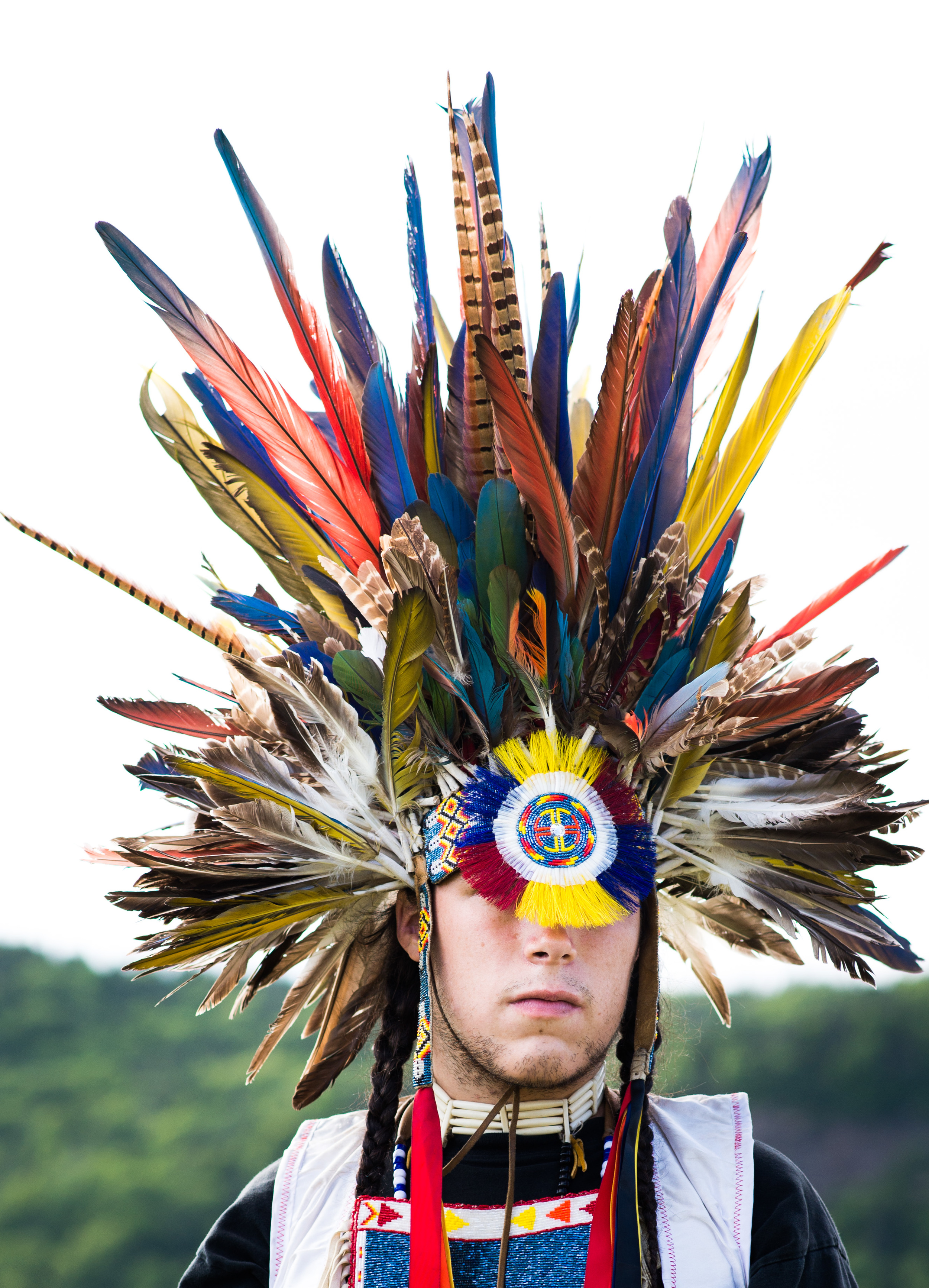 This person had one of the most distinctive headdresses at the powwow, and allowed me to take a few photos.