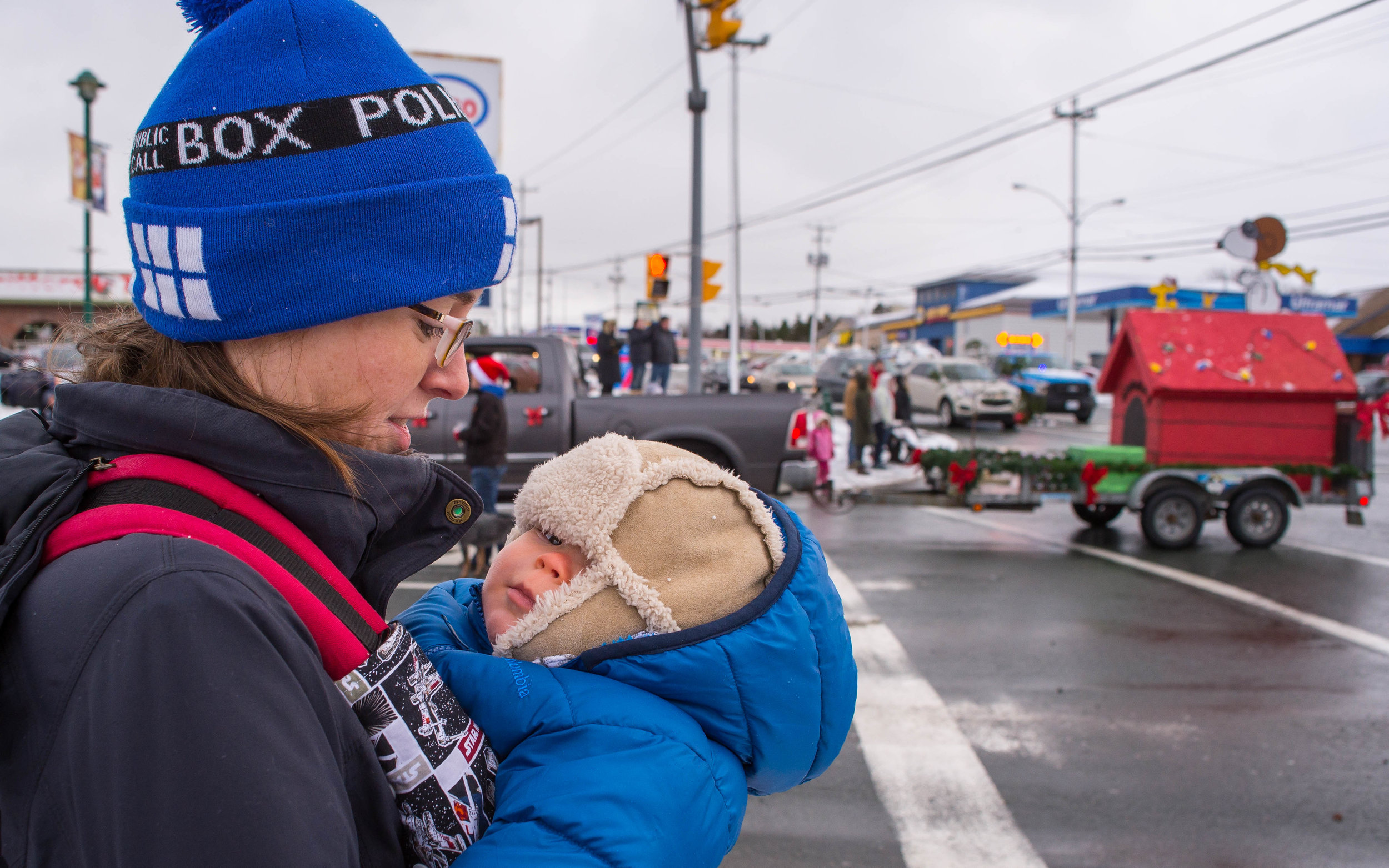 I joined Janet and G for the Mount Pearl Santy Claus parade a few weeks ago. George had a wicked time peeping out from under his lid. It was wicked cold.