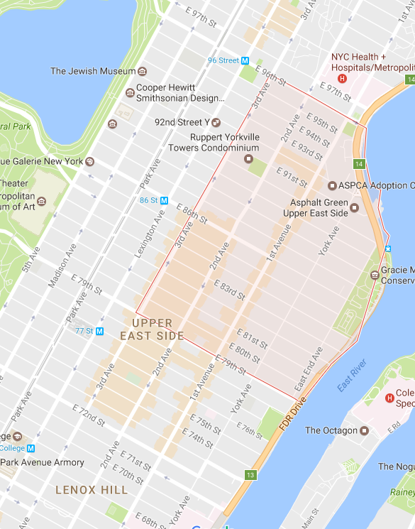 Yorkville is mapped out above.