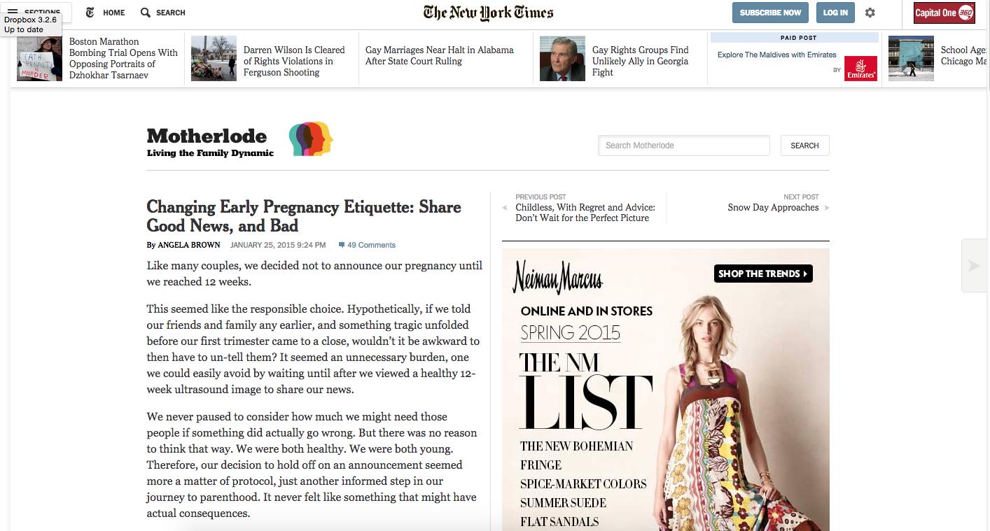 New York Times , January 2015