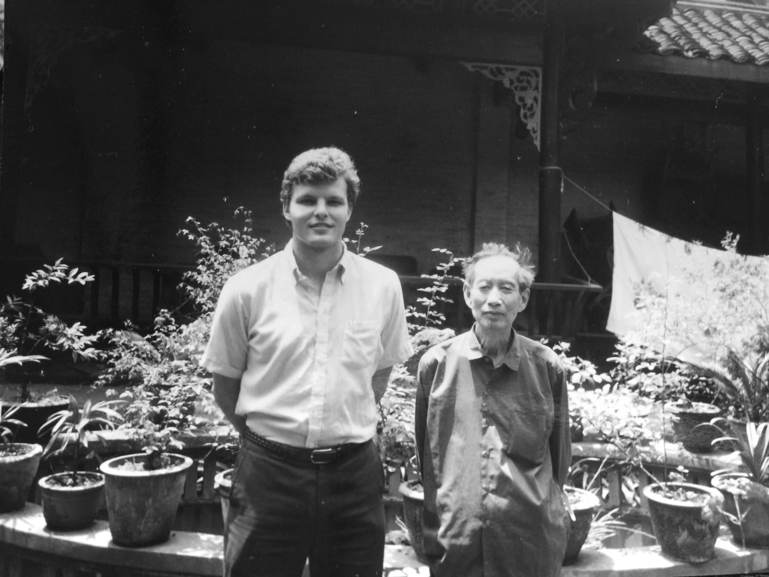 Mark Barnekow with author Ai Wu in Chengdu, Sichuan, 1983