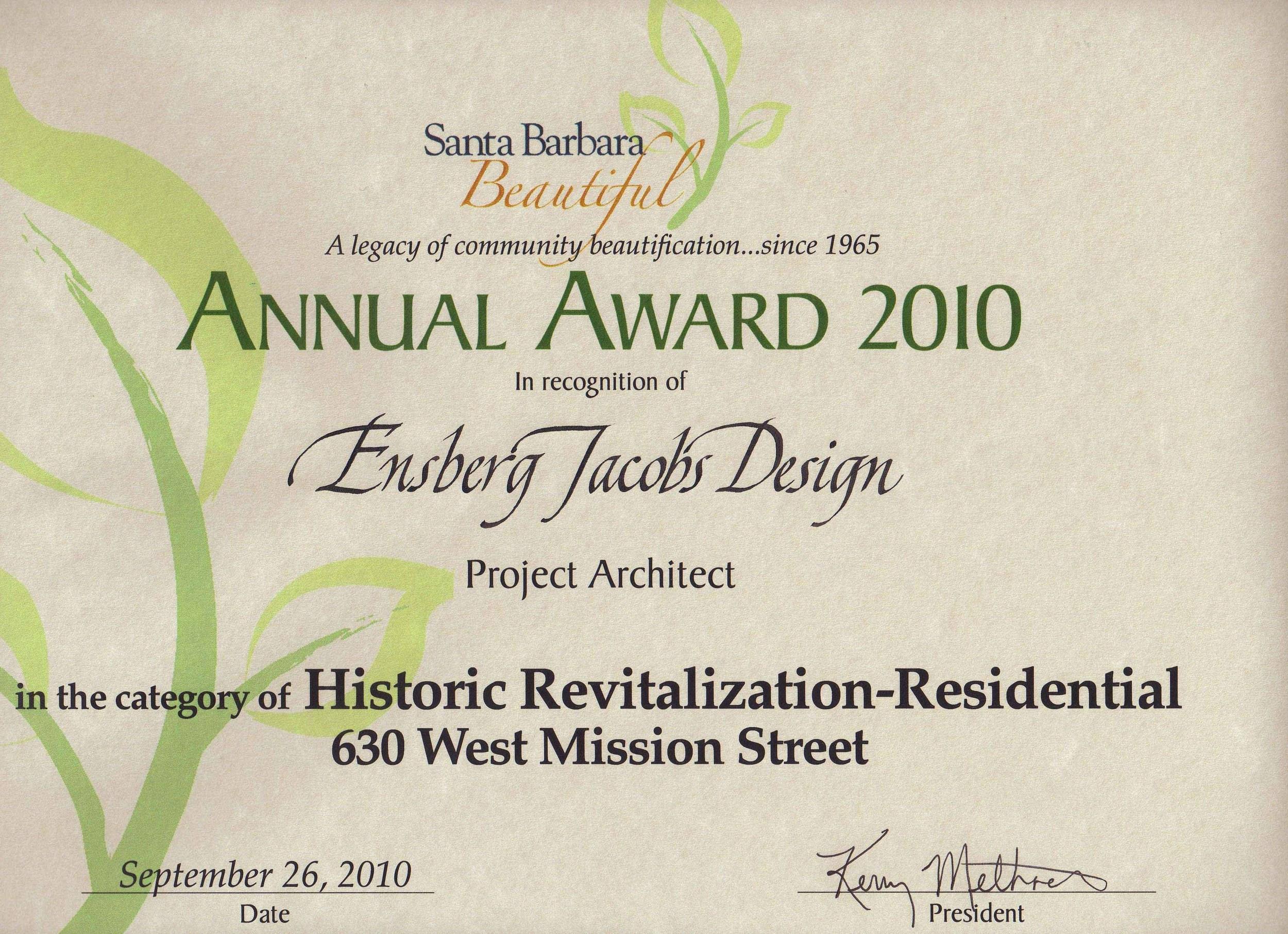 Santa Barbara Beautiful Design Award