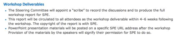 SPE workshop deliverables