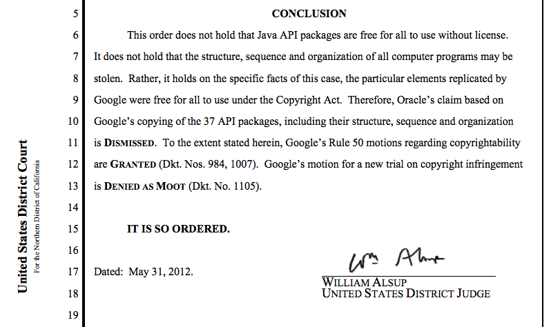 The original 2012 holding that Google did not violate the copyright Act by copying 37 of Java's interfaces. Click for the full PDF.