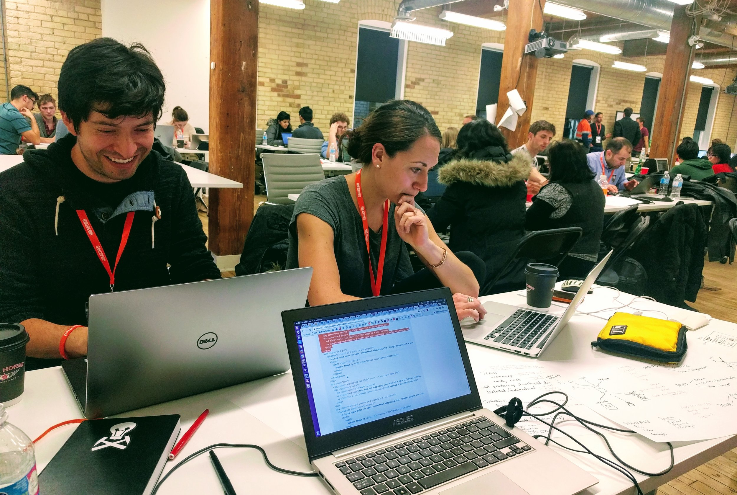 Team Auger Effect: Diego and Anneya hacking away on Day 2.