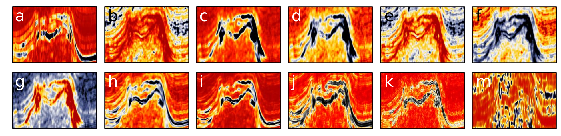 Twelve Seismic attributes used for multi-attribute salt-boundary classification. (a) is RMS Amplitude, (B) to (M) are TEXTURAL attributes. See  abstract  for details. This figure is copyright of Ghassan AlRegib and licensed CC-BY-SA by virtue of being generated from the F3 dataset of dGB and TNO.
