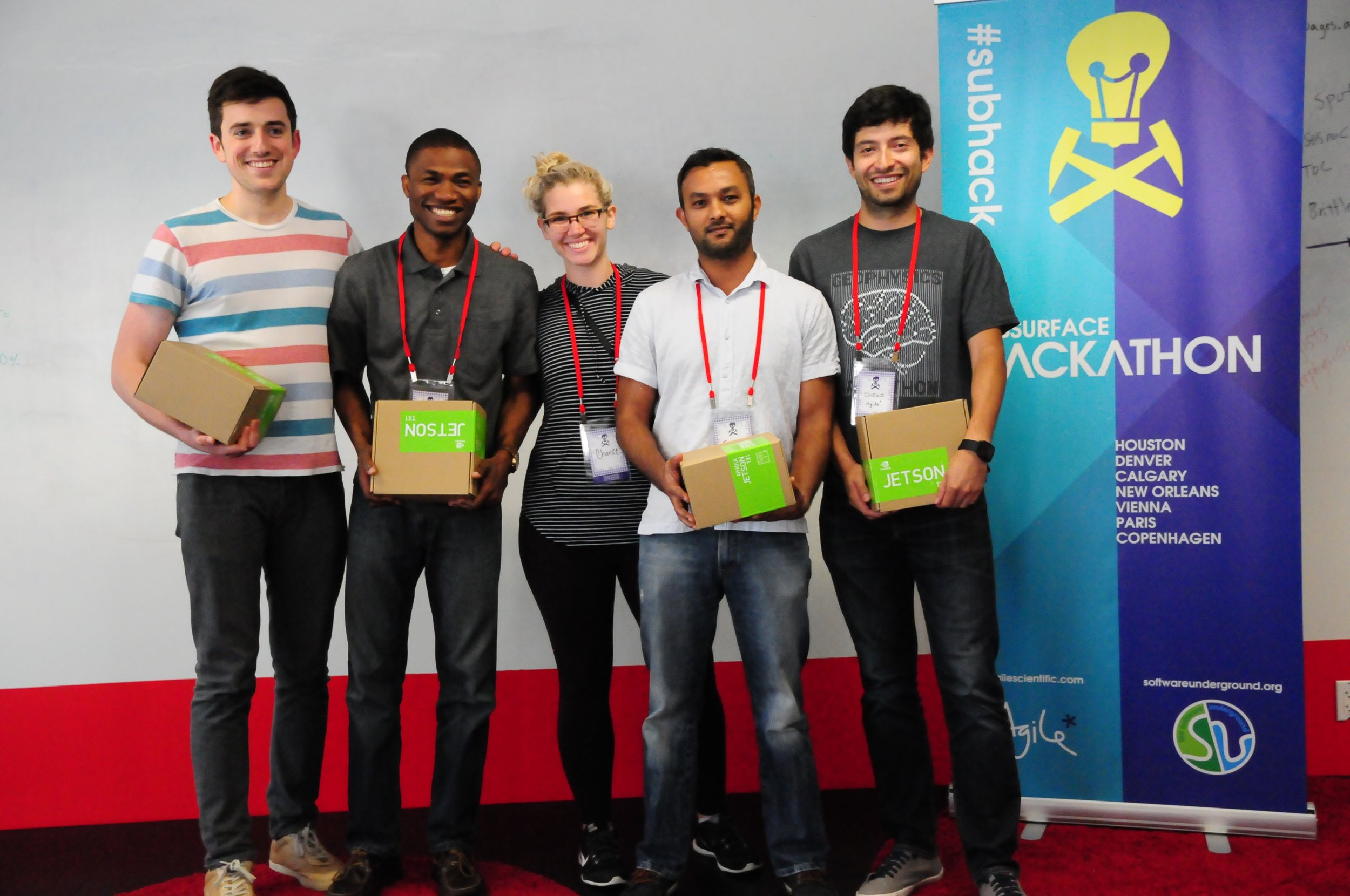 Some of the prize-winners with their prizes
