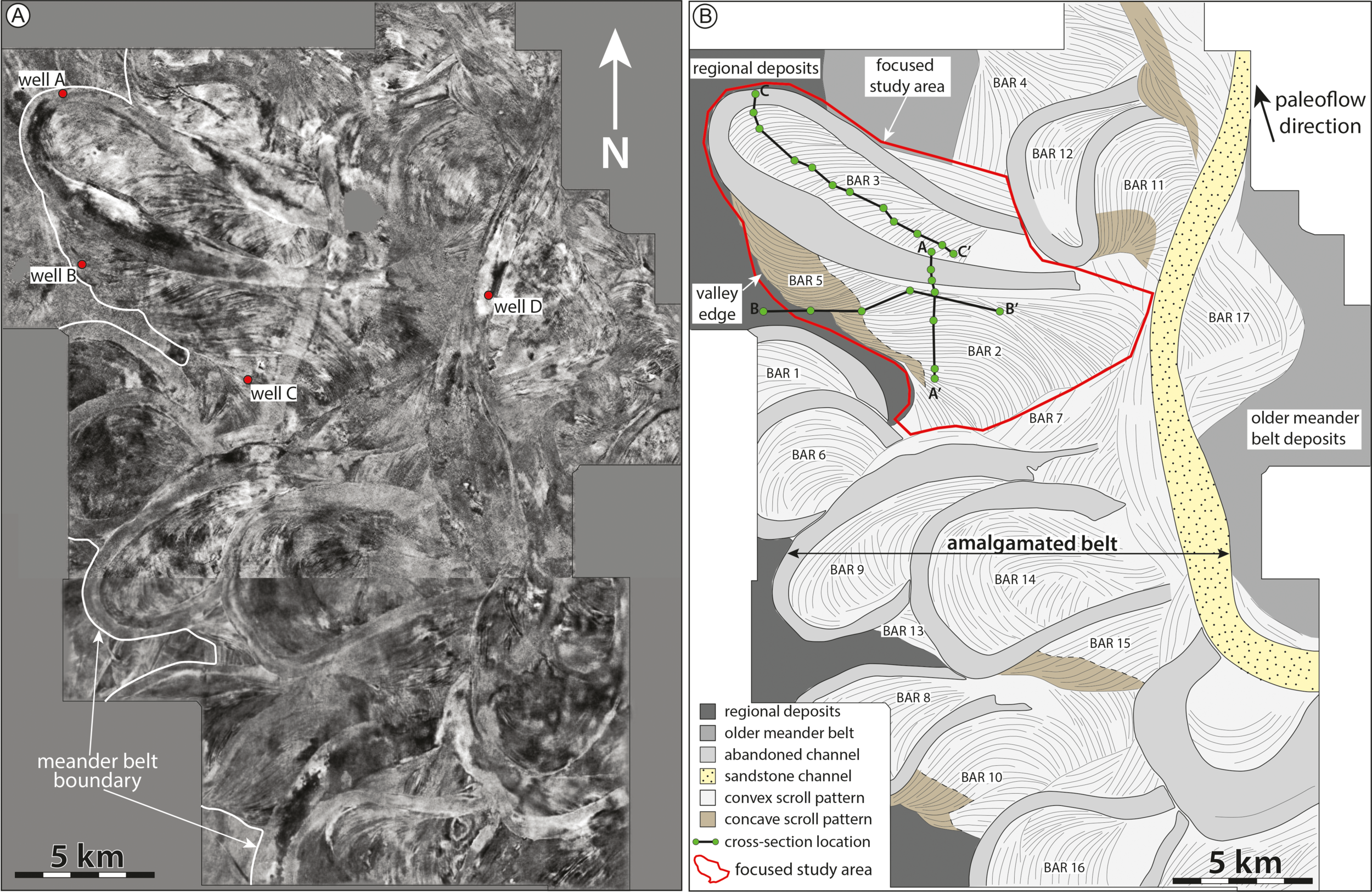 Figure 1 from Durkin et al (2017), showing a stratal slice from 10 ms below the top of the McMurray Formation (left), and its interpretation (right). ©2017, SEPM (Society for Sedimentary Geology) and licensed CC-BY.