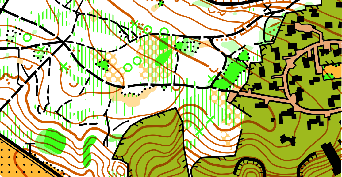 The sample orienteering map from the  Open Orienteering Mapper  software, licensed GNU GPL. White areas correspond to open, runnable (high velocity) woodland, with darker shades of green indicating slower running. Yellow areas are open. Olive green areas are out of bounds.