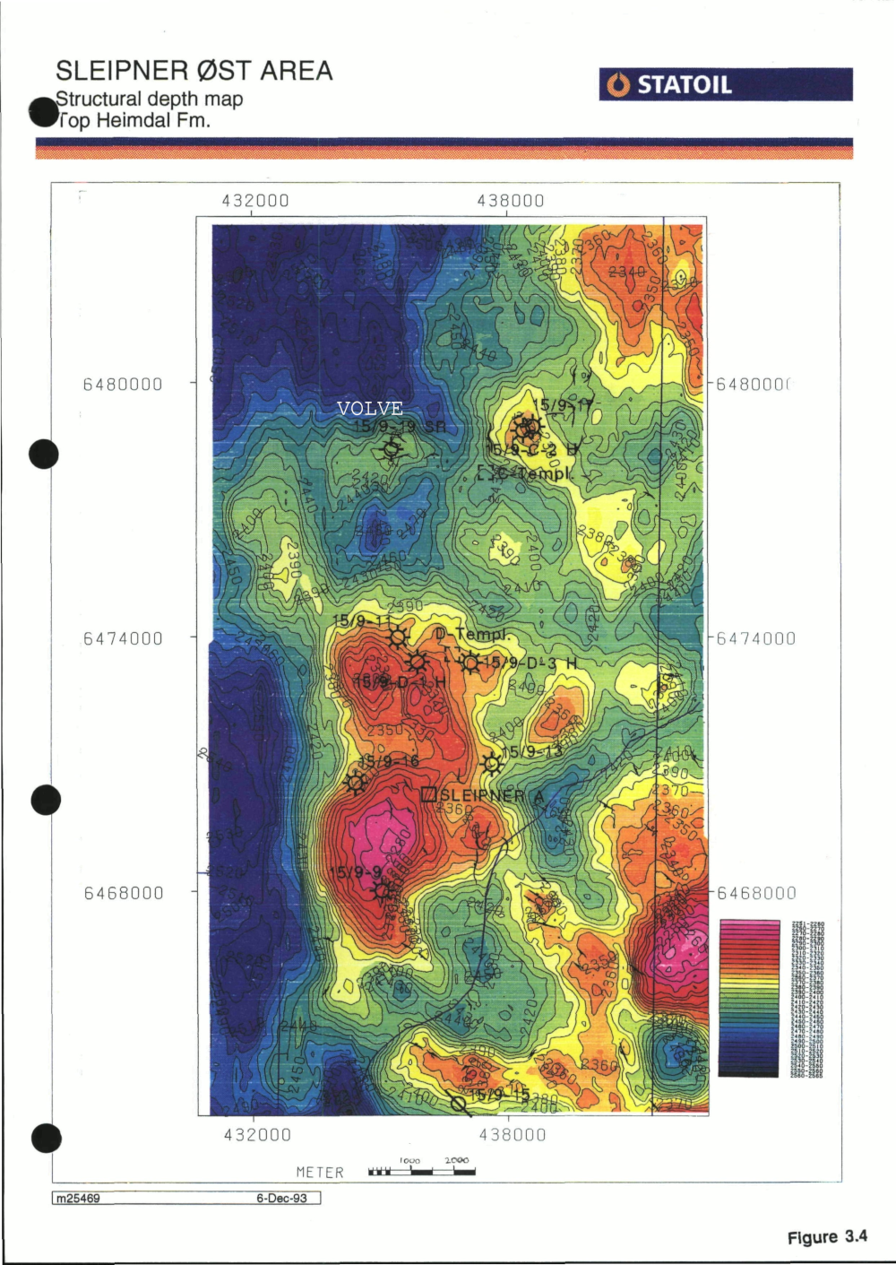 The top reservoir depth map from the discovery report. The Volve field (my label) is the small closure directly north of Sleipner East, with 15/9-19 well on it.