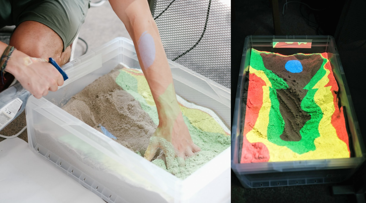 magic box of sand: Sculpting a landscape (left), and the projected map (right). You can't even imagine how much fun it was to play with.
