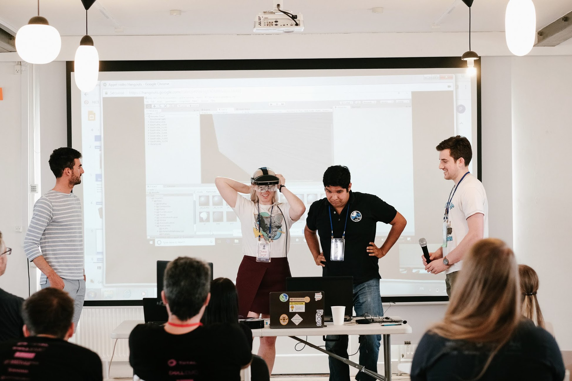 The team demonstrate the Meta AR headset.