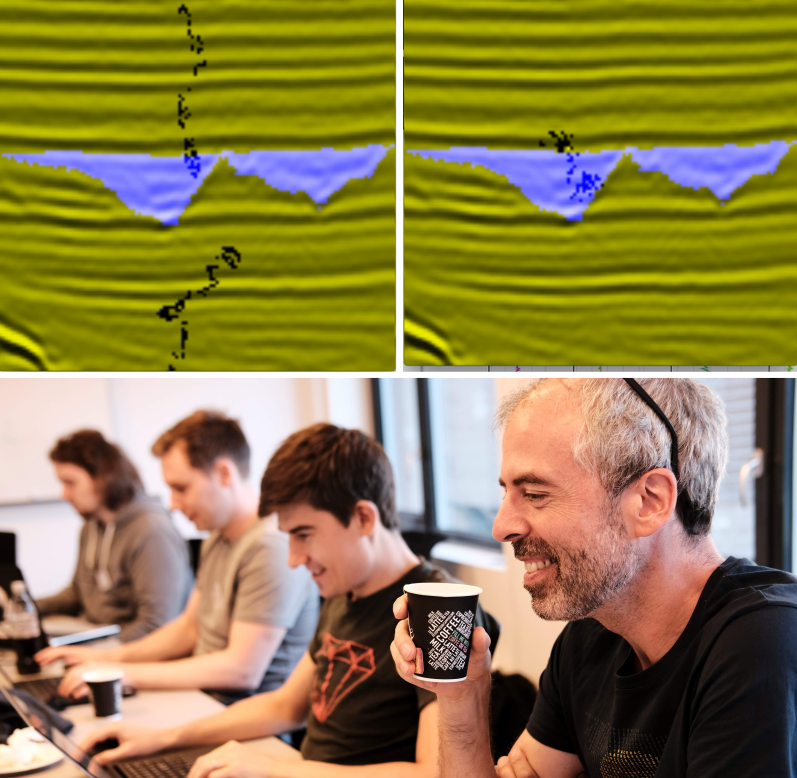 Early in training, the learning agent wanders around the image (top left). After an hour of training, the agent tends to stick to the gullies (right).