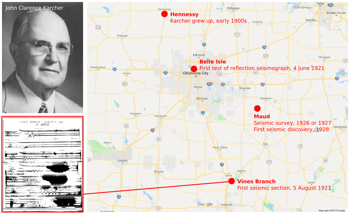 The locations (as best I Can tell) of the first test of reflection seismology, the first seismic section, and the first seismic survey that led to a discovery. The map also shows where Karcher grew up; he went to university in Norman, south of Oklahoma City..