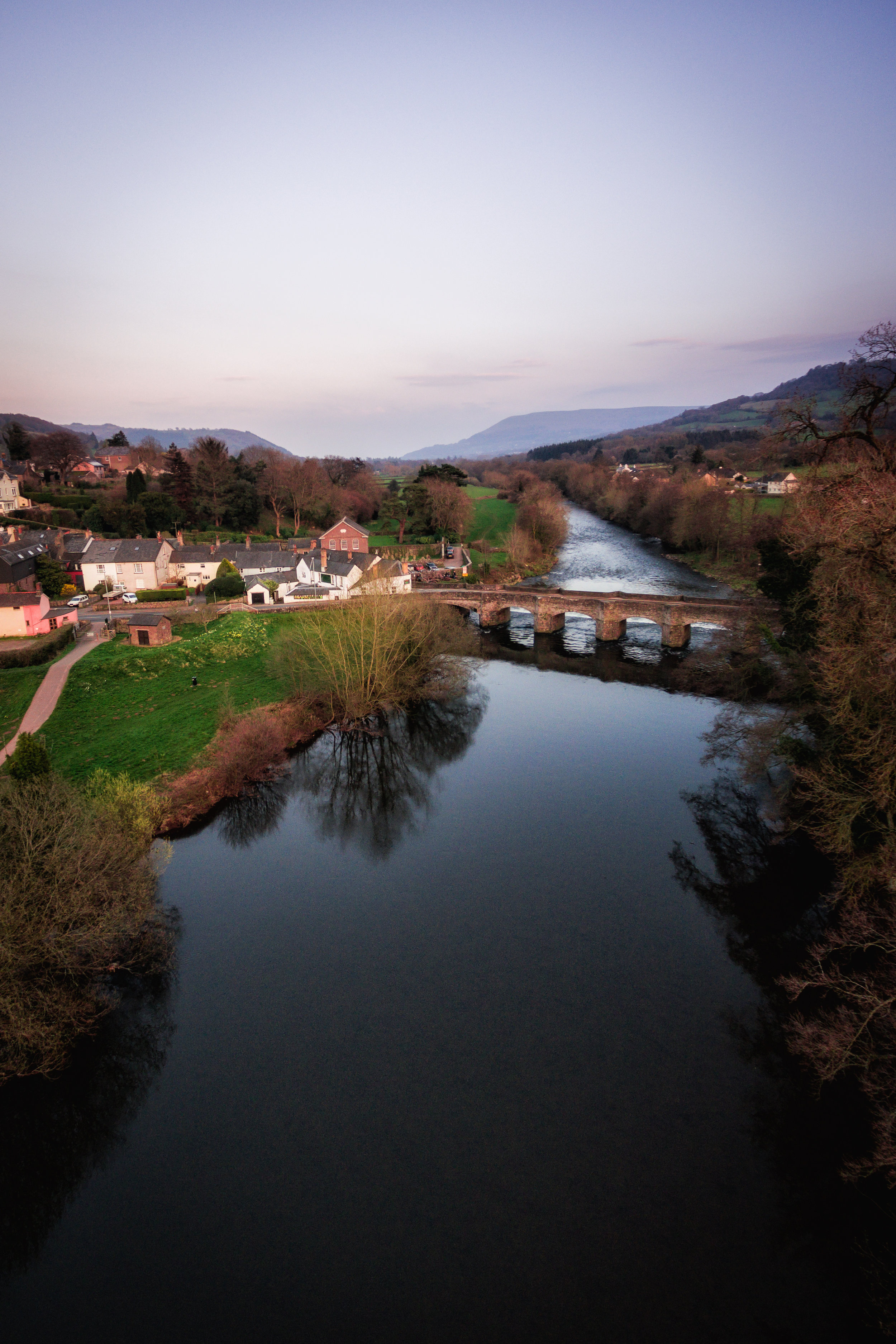 An Aerial view of Crickhowell and the River Usk