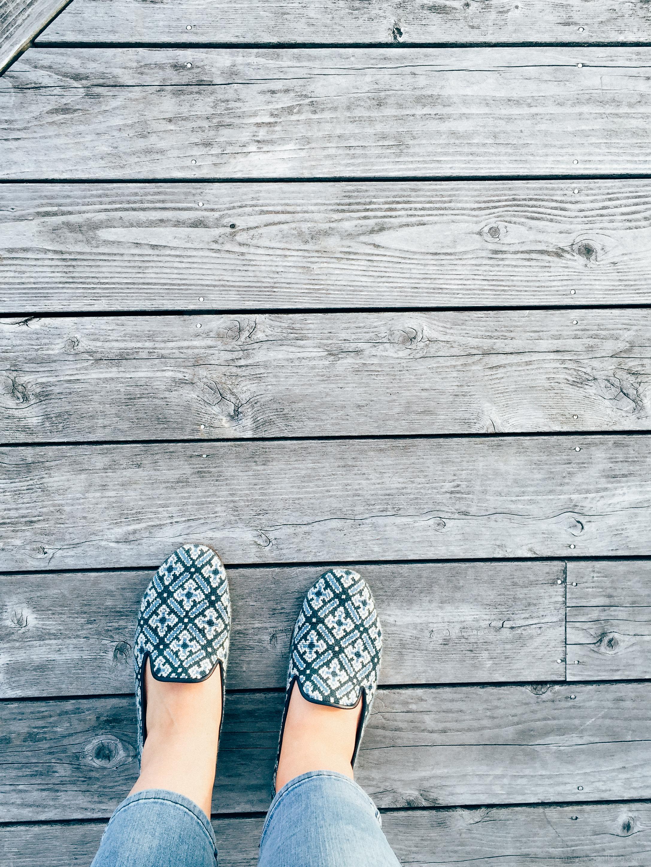 wearing my favorite needlepoint flats -  stubbs & Wootton.