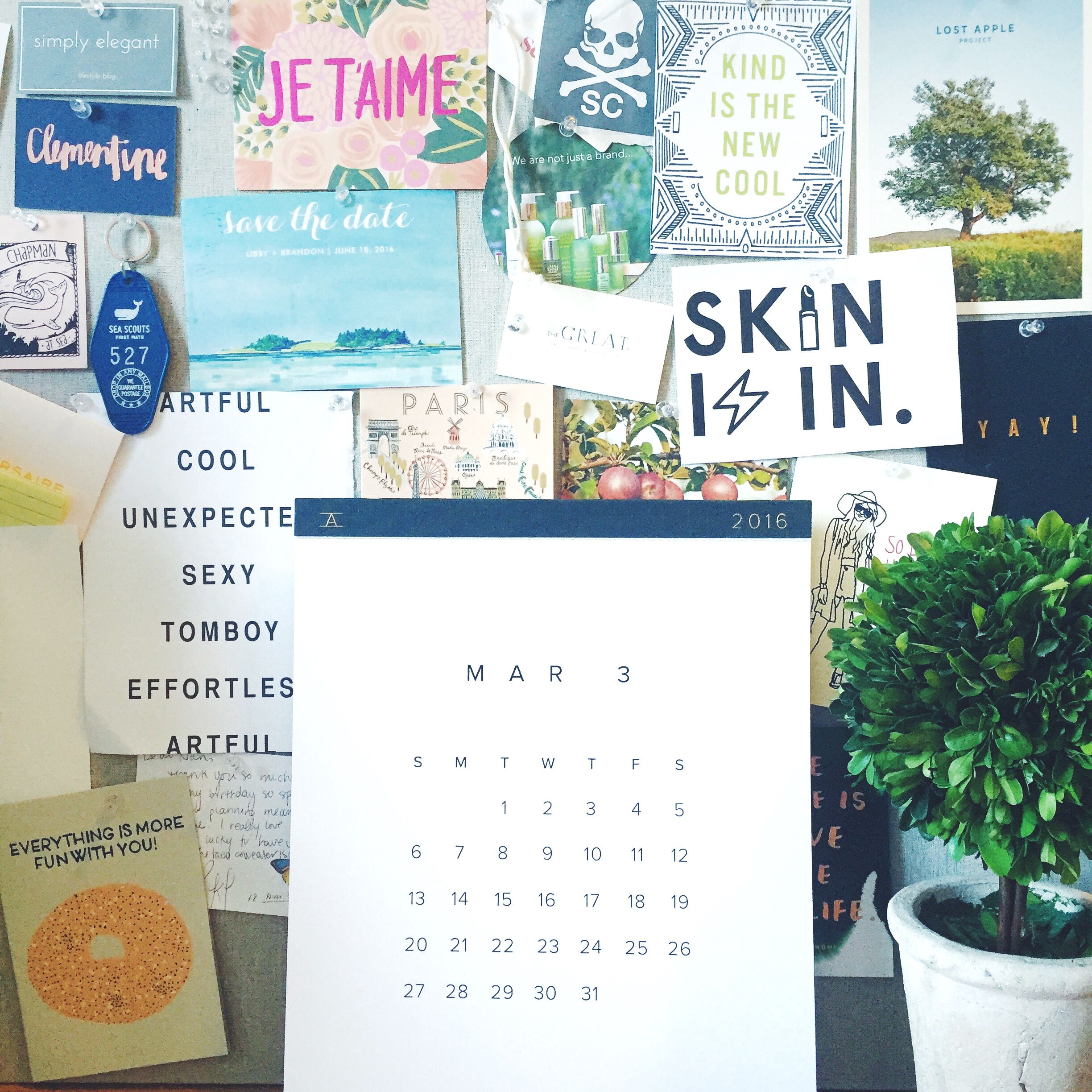 Appointed Wall Calendar.     Design Darling Boxwood Topiary.     Various Cards from Clementine Store.