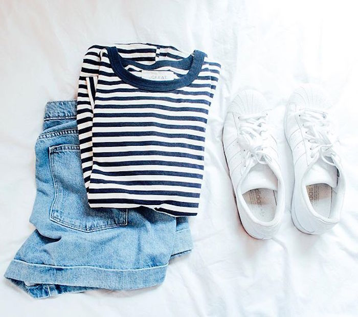 Gap shorts.        The Great striped t-shirt .        Classic White Adidas Superstar Sneakers.       via  @simplyelegantblog