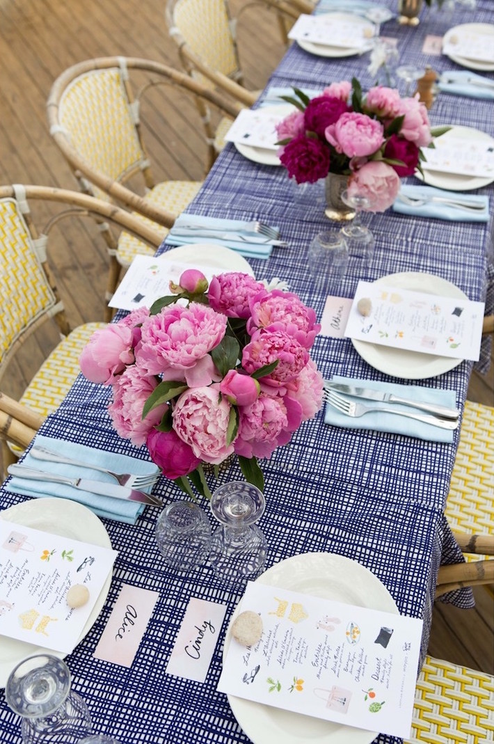 Summer Table Setting - Peonies, Gingham and Watercolor Menus