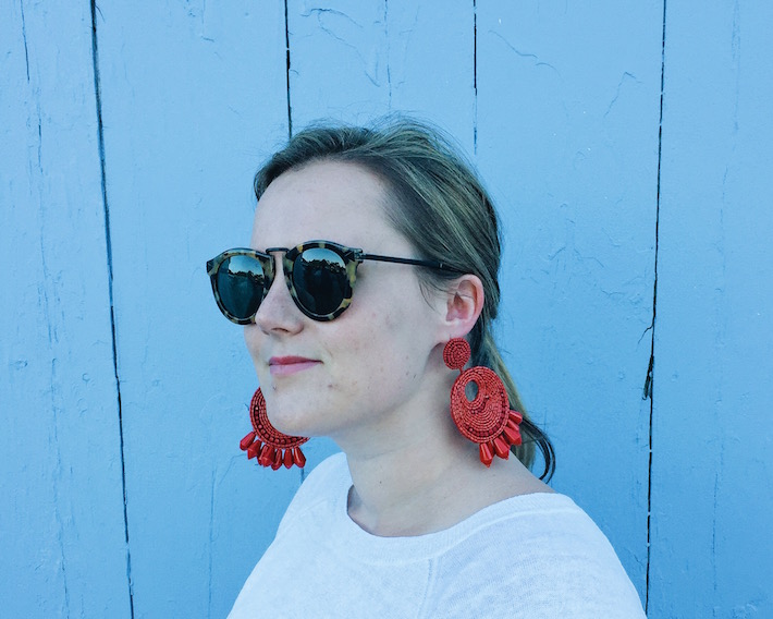 red statement earrings from Tuckernuck