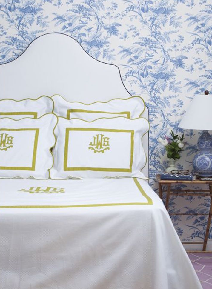 Monogramed Leontine Linens - White Green Bedding.