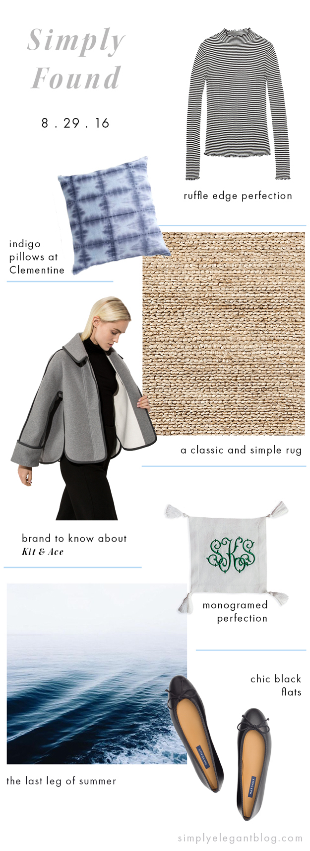 Simply Found 12 - Shopping List. Zara Striped Top, Dash Albert Jute Rug, Kit and Ace, Margaux Ballet Flats
