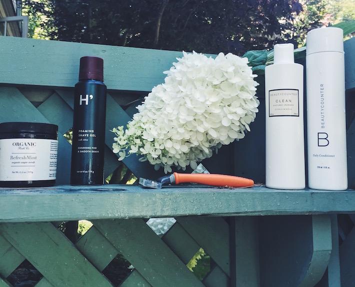 Outdoor Shower - Beauty Counter, Harry's Shaving, Follain.