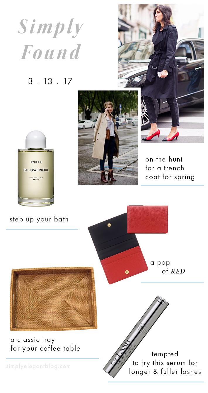 Simply Elegant Blog - Trench Coats, NueLash and Byredo Bath Oil.