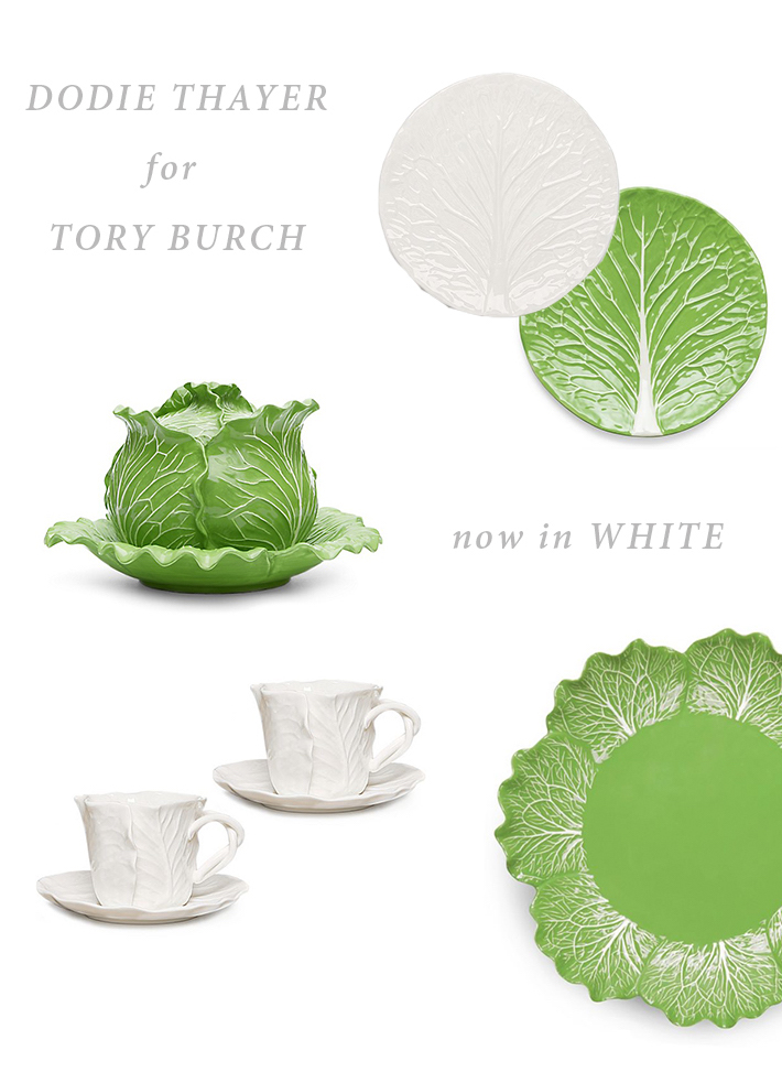 Dodie Thayer Lettuce Ware Tabletop for Tory Burch in White