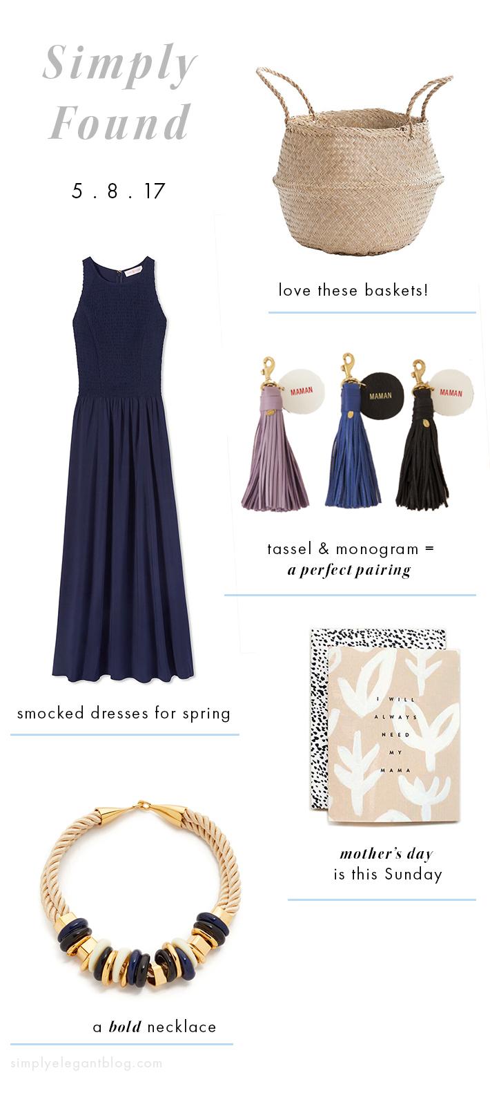 Tory Burch Smocked Dress, Lizzie Fortunate Necklace