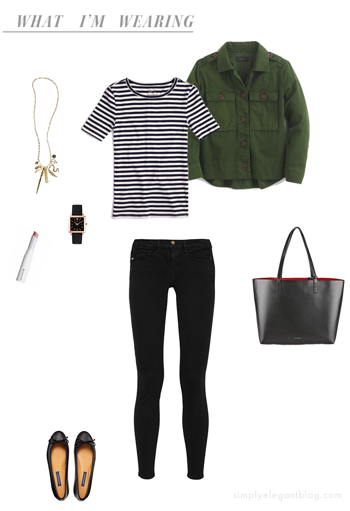 What I'm Wearing - Stripe Tee, Jeans, Army Jacket