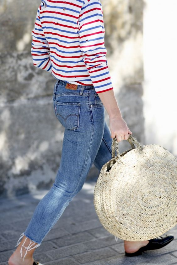 stripe t-shirt and jeans