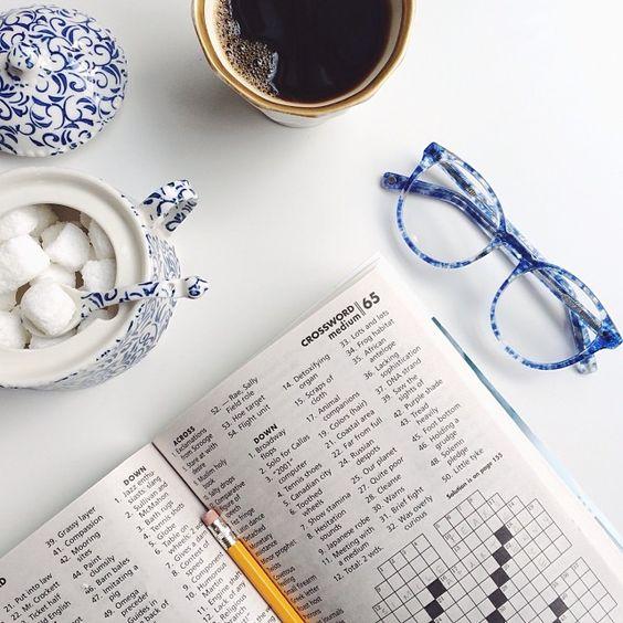 morning crossword - blue and white