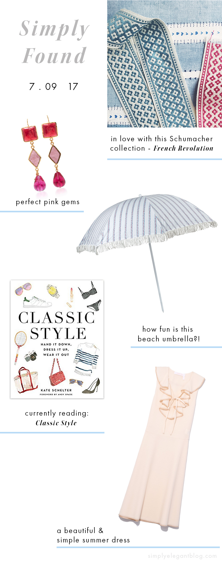 Schumacher French Revolution fabric, The Maryn beach umbrella and Classic Style by Kate Schelter