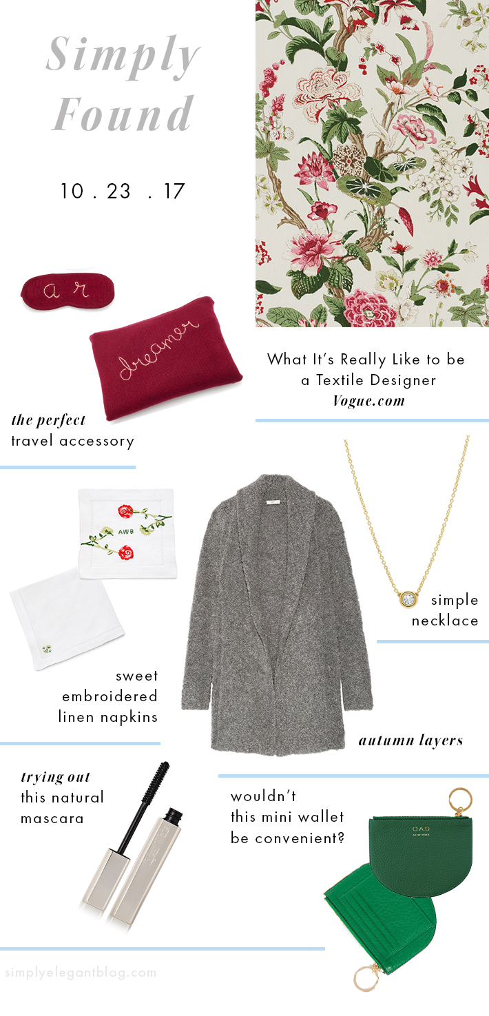 Schumacher Fabric on Vogue, Hill House Home and Prabal Gurung Napkins, Shearling Sweater from Joie and Kjaer Weis Mascara