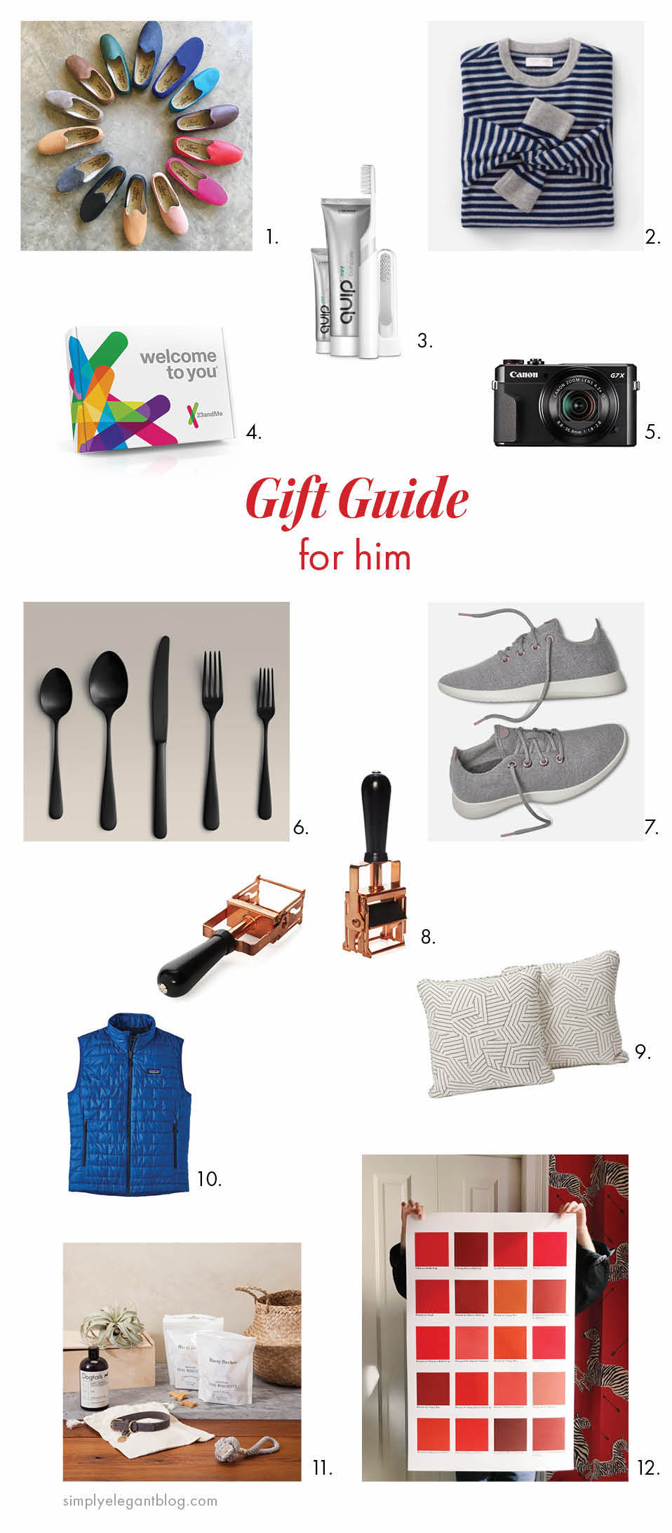 Gift Guide for Him - Patagonia Vest, Sabah Shoes, Schumacher Pillows