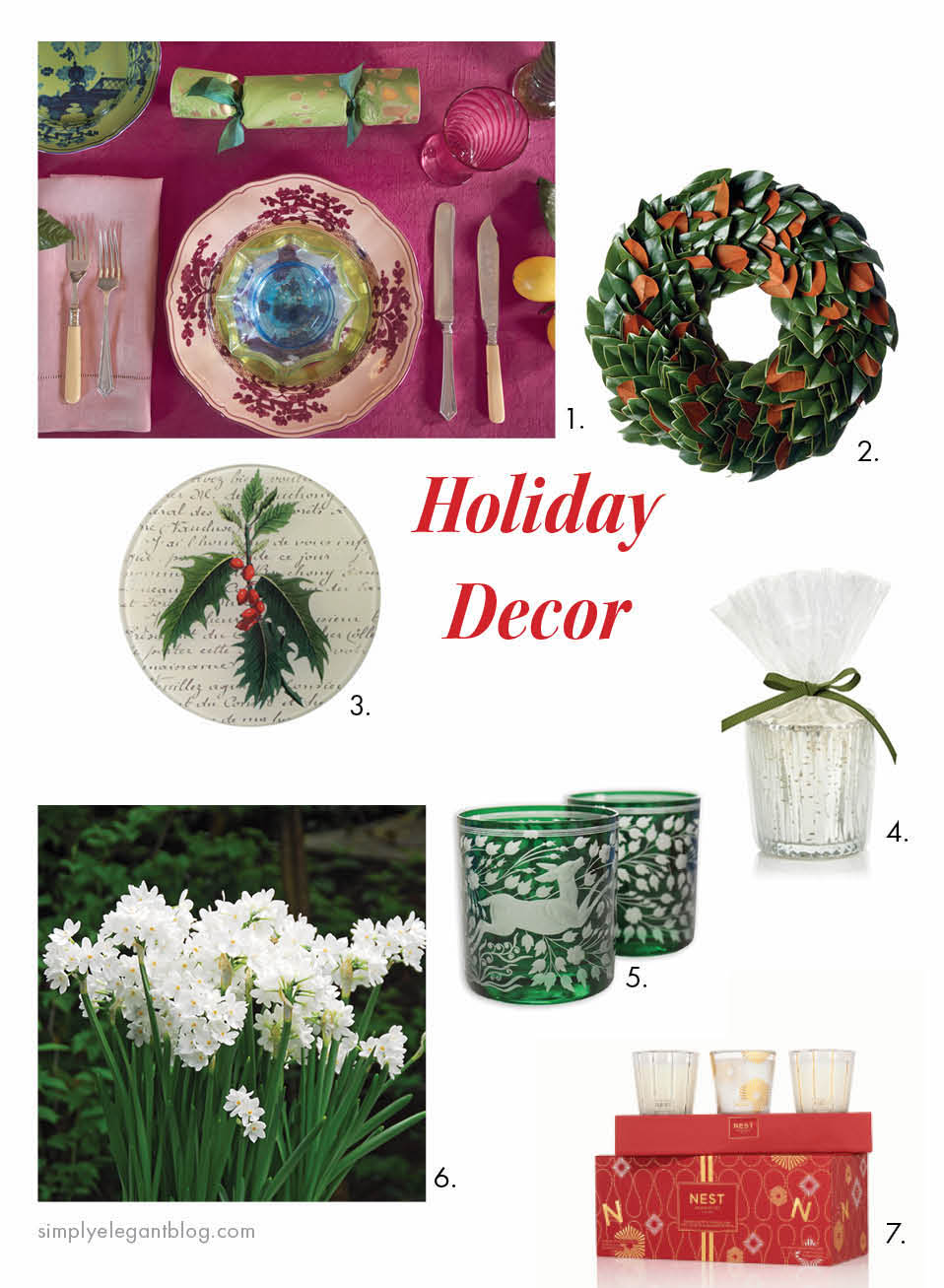 Holiday Decor from Simply Elegant Blog - Magnolia Wreath, NEST Holiday Candle and John Derian Holly Tray.