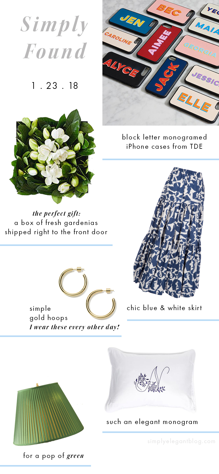 Simply Found Shopping Guide - Monogram iPhone Cases from TDE and monogramed pillow from Hill House Home