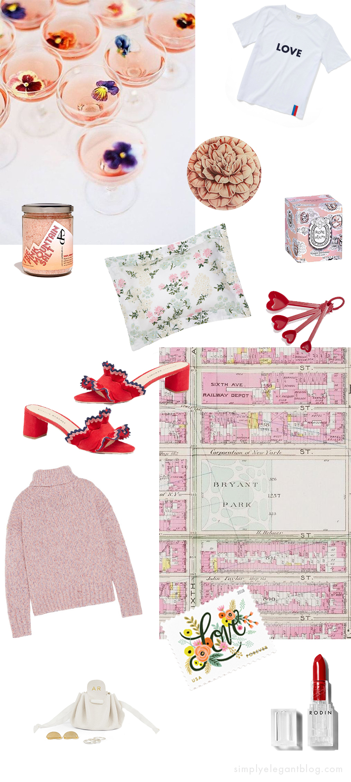 Valentines Day Gifts - Loeffler Randal Ruffle, Rifle Paper Co Love Stamps, JCrew