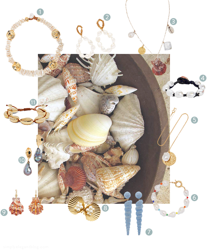 Sea Shell and Fresh Water Pearl Earrings Necklaces and Bracelets Shopping List