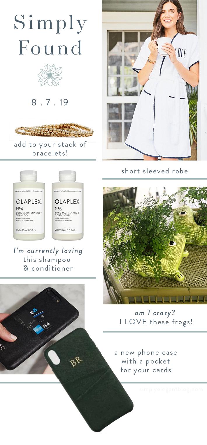 Simply Found - Weezie Bath Robe- KRB Frog - Karen Lazar Bracelet - Olaplex Shampoo