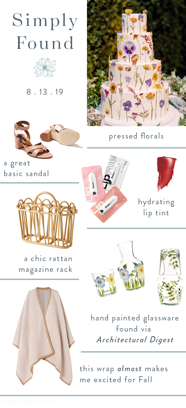 Simply Found - Kosas Sport Lip Fuel, Petra Palumbo, City Sandal Margaux, Loria Stern Pressed Flower Cake