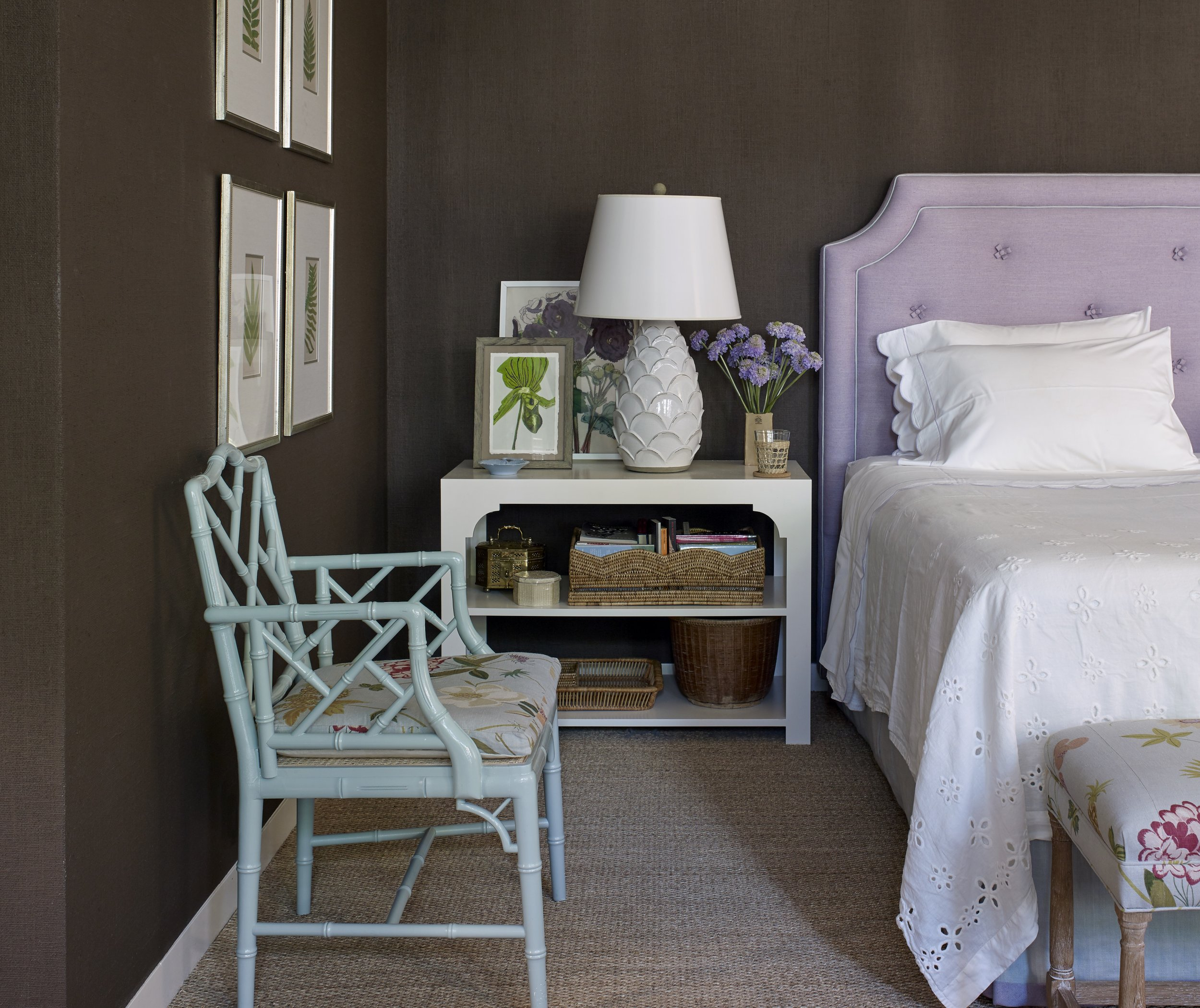 The master suite in a Houston home with walls covered in textured burlap and then painted over in Benjamin Moore's Clinton Brown.
