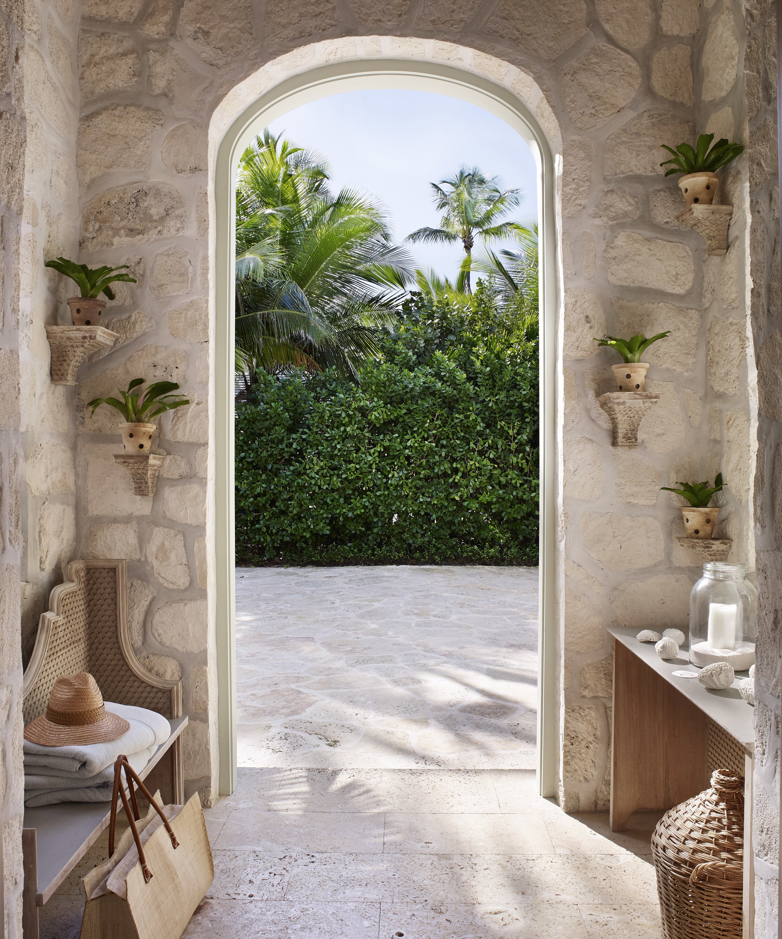 A portico in a home on a barrier island in the Bahamas.