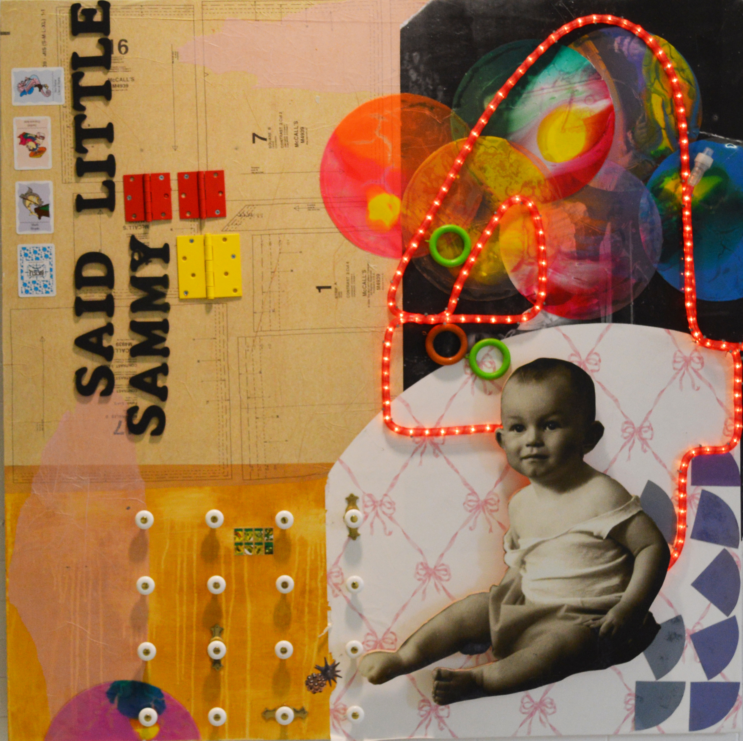 """Bobby G.  mixed media 4' x 4' x 4"""" 2015 based on  Five  (from   Postcards  )"""