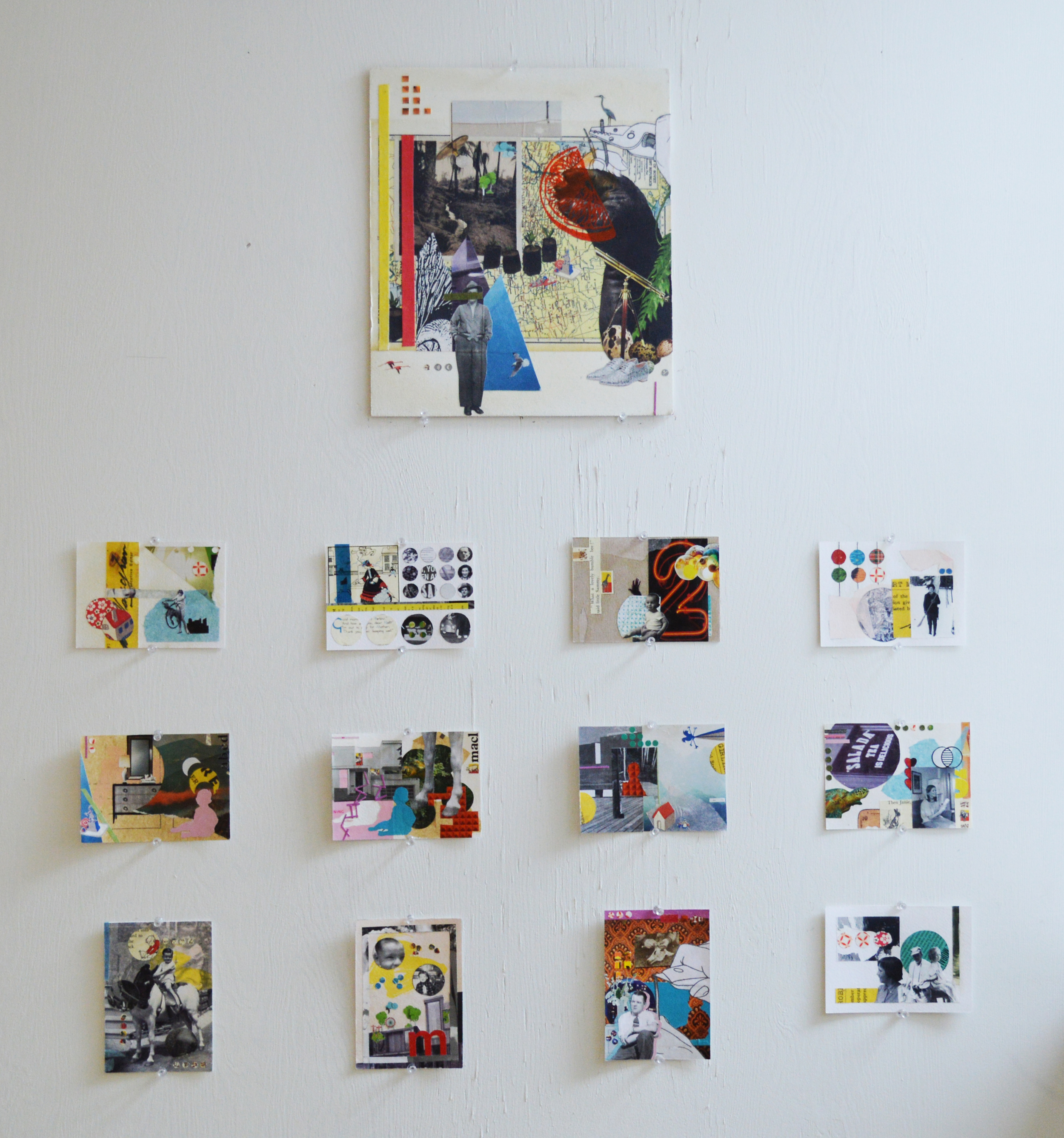 installation shot of   Postcards  and   He Wasn't Really Sure Where He Was Heading, But Exploring Seemed Like The Best Idea   2014-2015